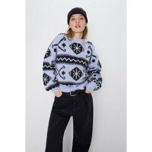 NWT Zara Wool Mohair Blend Purple Sweater Aztec